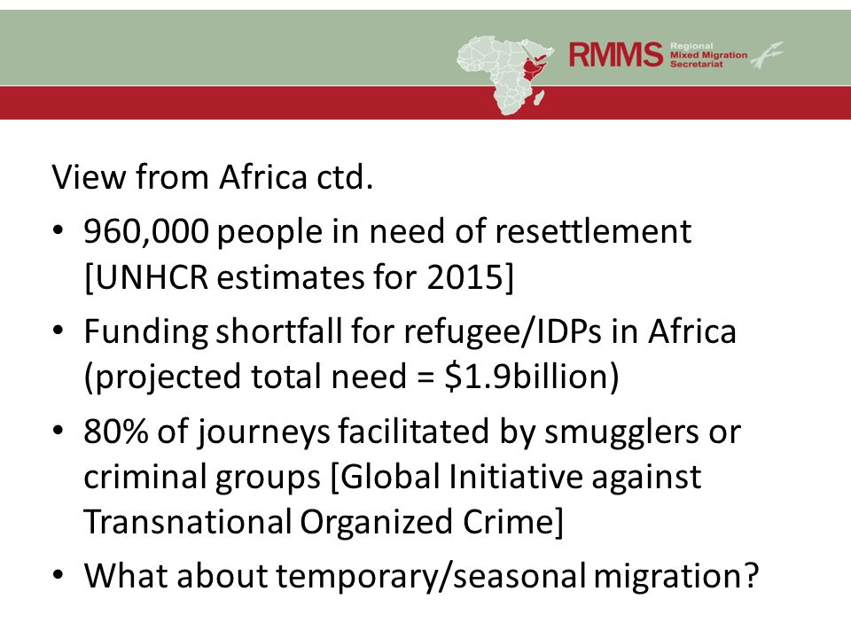 View from Africa ctd. 960,000 people in need of resettlement [UNHCR estimates for 2015]